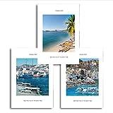 SQWPATS Nordic Blue White Seaside Seascape Poster And Prints Arte murale di Paesaggio London Pairs Immagini a Parete per Soggiorno Decorazione 30X40CM Senza Cornice
