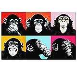 XXW SELFLY Andy Warhol Colorful Monkey Animal Poster Stampa su Tela Dipinti per Soggiorno Wall Art Cuadros Immagini Senza Cornice