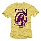 Maglietta Rastafari Reggae Musica - Bob Marley T-Shirt - Giallo XL