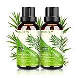 Tea Tree Oil Puro 100% Olio Essenziale Tea Tree 2 PACK - Olio di Acne Olio Essenziale di Albero del Tè Naturale - Anti Acne e Brufoli Trattamento per Pelli Impure, per Aromaterapia Diffusore - 30ml