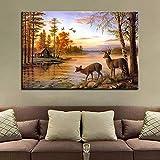 GJQFJBS HD Stampa Tela Soggiorno Immagine Foresta Animale Fiume Paesaggio Wall Art Poster Decorazione della casa A1 30x40cm