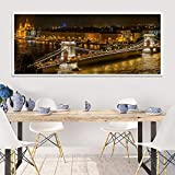 MYSY City Night Landscape Wall Art Canvas Painting Tower Bridge London Wall Pictures Prints And Posters for Living Room Decor-40x100cmx1 Pezzi Senza Cornice
