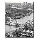XQWZM London Map Poster Prints, City Black White Canvas Art Painting Wall Art United Kingdom Pictures Poster, for Living Room Decorative 50X70Cm