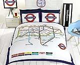 Underground-Copripiumino Singolo con Mappa della metropolitana di Londra-Set Copripiumino e federe per Letto Doppio, Colore: Bianco