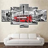 WADPJ Stampa su Tela Moderna Immagine su Tela 5 Pezzi London Street Scene Red Bus Città del Regno Unito Edifici Vintage Pittura Poster-40x60 40x80 40x100cm Senza Cornice