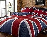 Rock N Roll Union Jack, Colore: Rosso, Bianco e Blu dell'Union Jack-couette. Semplice, 135 cm x 200 cm con 1 Federa per Cuscino.