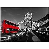 zhaoyangeng London Wall Decor Street Stampa su Tela Wall Art Picture Paesaggio Urbano Poster Bianco E Nero Grande Bus Rosso Pittura Decorazioni per La Casa - 50X75 Cm Senza Cornice