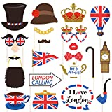BESTOYARD British Photo Booth Puntelli Funny British Party Props Inghilterra Inghilterra Selfie Props per la Festa Nazionale Inglese di Londra Decorazioni per Feste,Confezione da 20