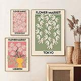 Flower Market PosterSet di 3 StampeStoccolma - Tokyo - LondonMarket Posterstampabile Wall Art Home Decor Canvas 40 * 60 cm