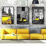 WADPJ Nordic Yellow Car Bus Nero Bianco Poster e Stampe Arte murale di Paesaggio London Pairs Immagini a Parete per Soggiorno Decor-50x70cmx3 Pezzi Senza Cornice