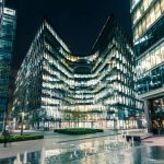 Modern architecture at night on Riverbank in London