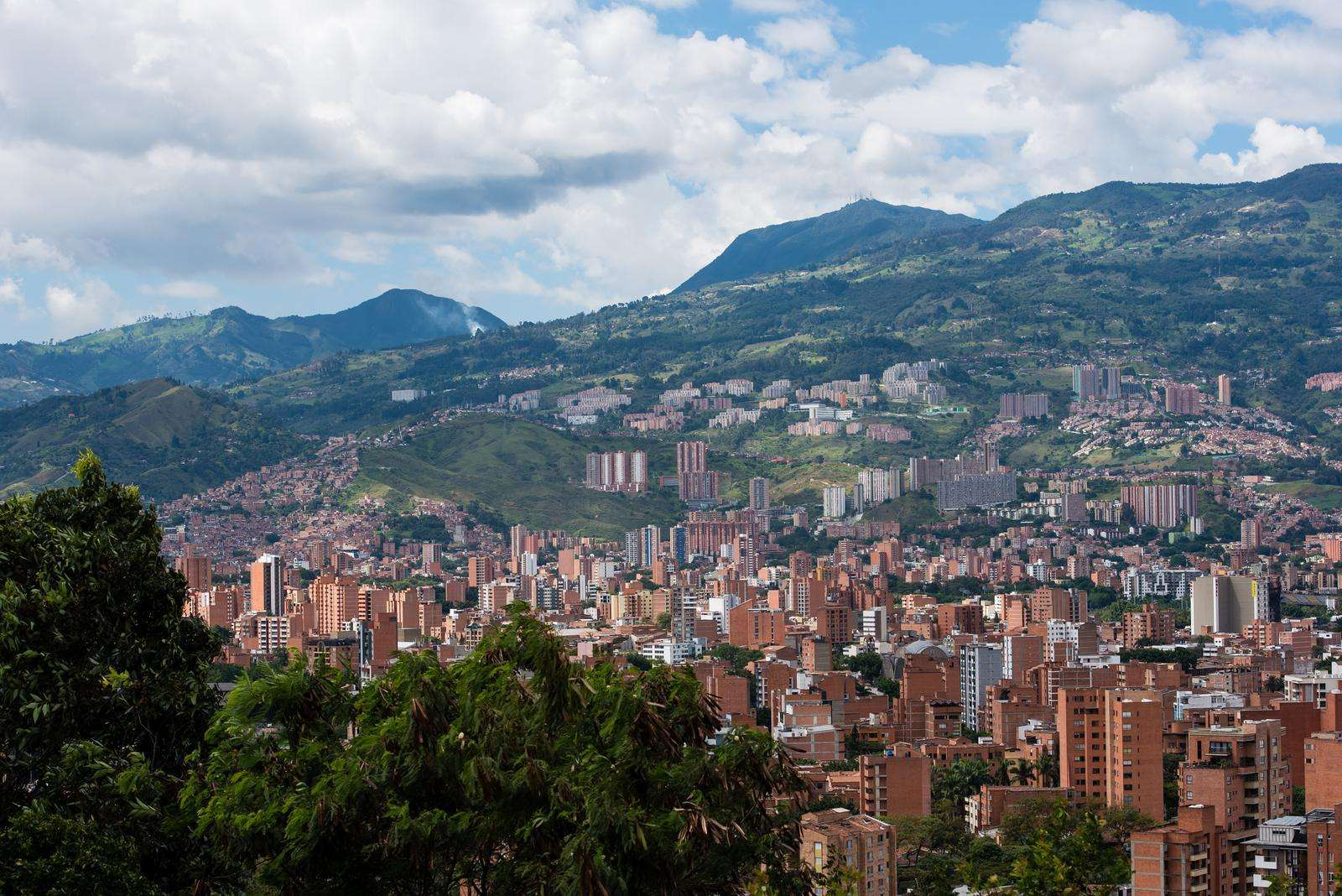 Rolling hills of village and clouds of Bogota Colombia